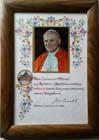 Błogosławieństwo oraz życzenia od Jana Pawła II na 100-lecie Firmy Płonka