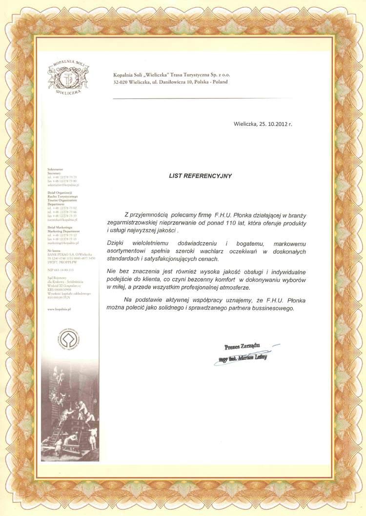List Referencyjny Kopalnia Soli Wieliczka